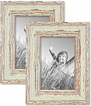 PHOTOLINI 2er Set Vintage Bilderrahmen 10x15 cm