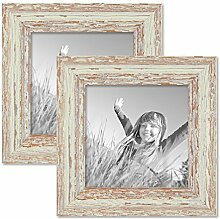 PHOTOLINI 2er Set Vintage Bilderrahmen 15x15 cm