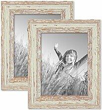 PHOTOLINI 2er Set Vintage Bilderrahmen 15x20 cm