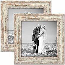 PHOTOLINI 2er Set Vintage Bilderrahmen 20x20 cm