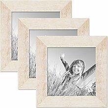 PHOTOLINI 3er Bilderrahmen-Set 15x15 cm Strandhaus