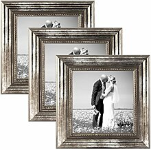 PHOTOLINI 3er Set Bilderrahmen 10x10 cm Silber