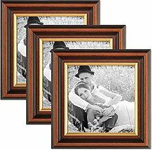 Photolini 3er Set Bilderrahmen 15x15 cm Antik