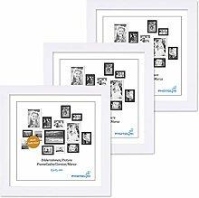 PHOTOLINI 3er Set Bilderrahmen 15x15 cm Modern