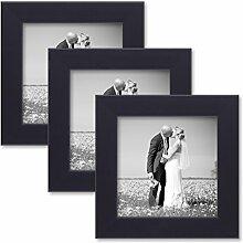 PHOTOLINI 3er Set Bilderrahmen 15x15 cm Schwarz