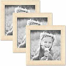 PHOTOLINI 3er Set Bilderrahmen 15x15 cm Sonoma