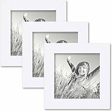 PHOTOLINI 3er Set Bilderrahmen 15x15 cm Weiss