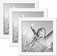 PHOTOLINI 3er Set Bilderrahmen 20x20 cm Weiss