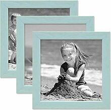 PHOTOLINI 3er Set Bilderrahmen Blau 15x15 cm