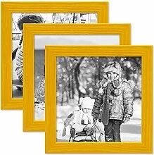 PHOTOLINI 3er Set Bilderrahmen Gelb 15x15 cm