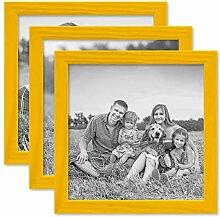PHOTOLINI 3er Set Bilderrahmen Gelb 20x20 cm