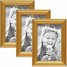 PHOTOLINI 3er Set Bilderrahmen Gold Barock Antik