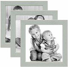 Photolini 3er Set Bilderrahmen Grau 15x15 cm