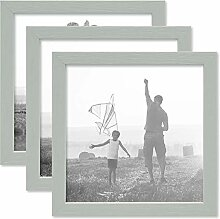 PHOTOLINI 3er Set Bilderrahmen Grau 20x20 cm