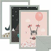 PHOTOLINI 3er Set Bilderrahmen Grau 30x45 cm