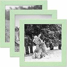 PHOTOLINI 3er Set Bilderrahmen Grün 15x15 cm