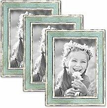 PHOTOLINI 3er Set Bilderrahmen Pastell/Alt-Weiß