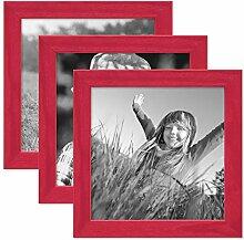 PHOTOLINI 3er Set Bilderrahmen Rot 15x15 cm
