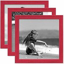 PHOTOLINI 3er Set Bilderrahmen Rot 20x20 cm