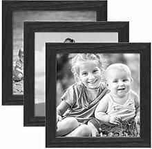 PHOTOLINI 3er Set Bilderrahmen Schwarz 15x15 cm