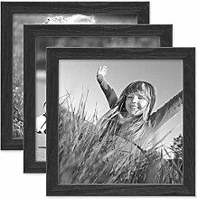 PHOTOLINI 3er Set Bilderrahmen Schwarz 20x20 cm