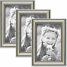 PHOTOLINI 3er Set Bilderrahmen Silber Barock Antik