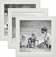 PHOTOLINI 3er Set Bilderrahmen Weiss 15x15 cm