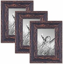 PHOTOLINI 3er Set Vintage Bilderrahmen 10x15 cm