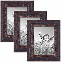 PHOTOLINI 3er Set Vintage Bilderrahmen 13x18 cm