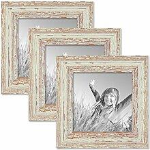 PHOTOLINI 3er Set Vintage Bilderrahmen 15x15 cm