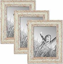 PHOTOLINI 3er Set Vintage Bilderrahmen 15x20 cm