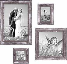 PHOTOLINI 4er-Set Bilderrahmen Silber Barock Antik
