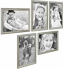 Photolini 5er Bilderrahmen-Collage Silber Barock