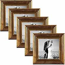 PHOTOLINI 5er Set Bilderrahmen 10x10 cm Gold
