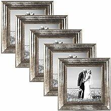 PHOTOLINI 5er Set Bilderrahmen 10x10 cm Silber