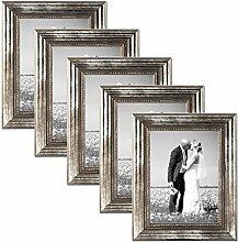 Photolini 5er Set Bilderrahmen 10x15 cm Silber