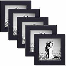 PHOTOLINI 5er Set Bilderrahmen 15x15 cm Schwarz