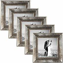 PHOTOLINI 5er Set Bilderrahmen 15x15 cm Silber