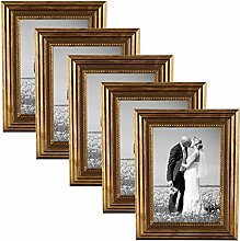 PHOTOLINI 5er Set Bilderrahmen 15x20 cm Gold