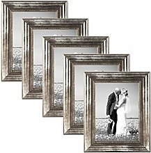 PHOTOLINI 5er Set Bilderrahmen 15x20 cm Silber