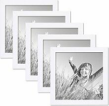 PHOTOLINI 5er Set Bilderrahmen 20x20 cm Weiss