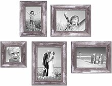 PHOTOLINI 5er-Set Bilderrahmen Silber Barock Antik