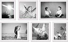 Photolini 6er Set Landhaus-Bilderrahmen Weiss