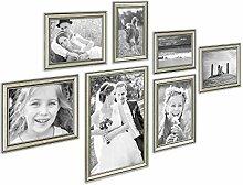PHOTOLINI 7er Bilderrahmen-Collage Silber Barock