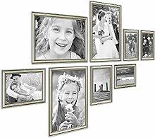 Photolini 8er Bilderrahmen-Collage Silber Barock