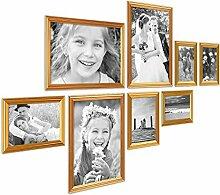 PHOTOLINI 8er Bilderrahmen-Set Gold Barock Antik