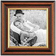 PHOTOLINI Bilderrahmen 15x15 cm Antik Dunkelbraun