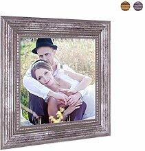 Photolini Bilderrahmen 15x15 cm Silber Barock