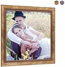 PHOTOLINI Bilderrahmen 20x20 cm Gold Barock Antik