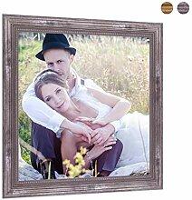 Photolini Bilderrahmen 20x20 cm Silber Barock
